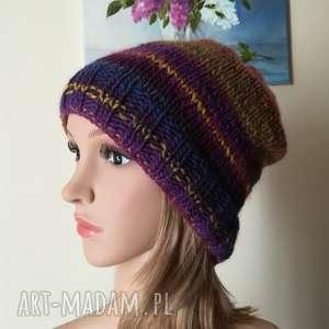 czapki kalejdoskop czapka, rękodzieło, kolorowa, bezszwowa, dwustronna, czapka