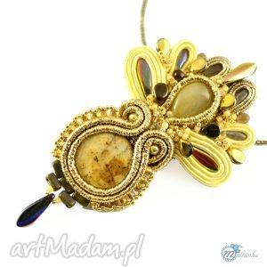 Ozdobny złoty wisior - haft soutache - ,zawieszka,glamour,elegancki,wyrafinowany,złoty,