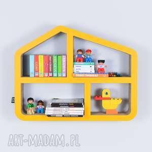 Półka na książki zabawki DOMEK ecoono | żółty, półka, chłopiec, dziewczynka