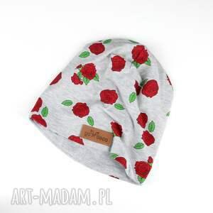 Czapka róże beanie ciepła czapki godeco czapka, róże, kwiaty