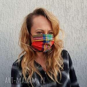 maseczki maseczka unisex kratka kolorowa na gumeczkach maska bawełniana