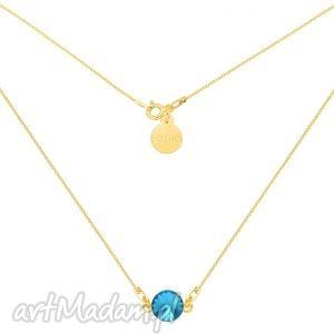 Złoty naszyjnik z turkusowym kryształem swarovski® crystal
