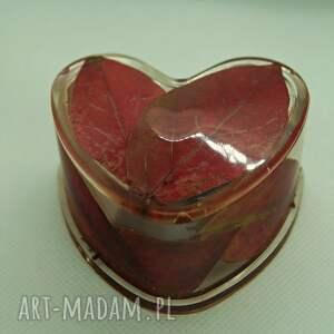 sekretne serce jesieni - puzderko z liści i żywicy w - żywica epoksydowa