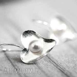 925 srebrne kolczyki serce perła, masa, kolczyki, prezent, ślub, wesele