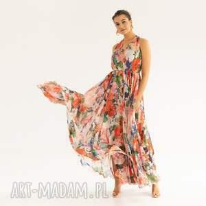 sukienki sukienka 15/ss/2021, letnia, szyfonowa, plażowa, kwiaty, zwiewna, maki
