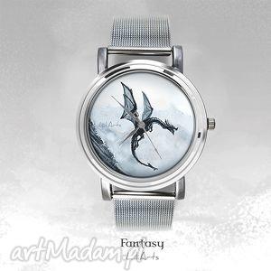 handmade zegarki zegarek, bransoletka - czarny smok black dragon fantasy watch