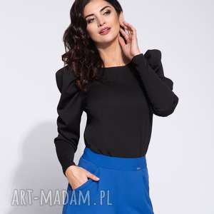 Elegancka czarna bluzka damska z bufkami, długi-rekaw, elegancka