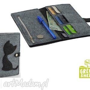 handmade portfele duży portfel z kotem -maxi