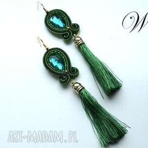 kolczyki sutasz zielono złote z chwostami, sutasz, eleganckie