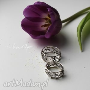 Ślubny komplet - obrączki, ślub, srebro, ażur