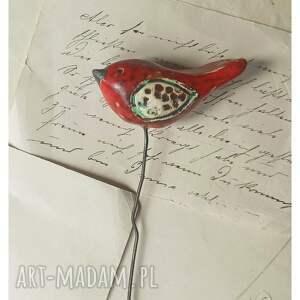 ceramika czerwony ptaszek na druciku, ceramika, ptaszek, doniczka