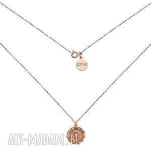 naszyjnik z medalionem z różowego złota - złoty, zawieszka