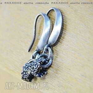 srebro kolczyki grawerowane wianuszki, srebro, zawieszki, ogniwa