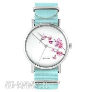 zegarek - koliber niebieski, nylonowy, zegarek, nylonowy pasek, typ militarny