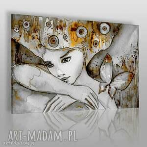 obraz na płótnie - kobieta motyl 120x80 cm 22702, kobieta, motyl, romantyczny