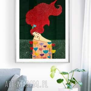 obraz - plakat 40 x 60 w zieleni, dekoracje, wnętrze, dom, kobieta, kwiaty