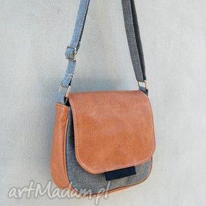 mini bambi - mała torebka beż, szarość i granat, mała, modna, wygodna, pojemna