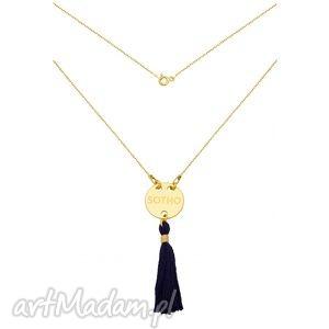złoty naszyjnik z granatowym chwostem sotho, chwosty, srebro, modny