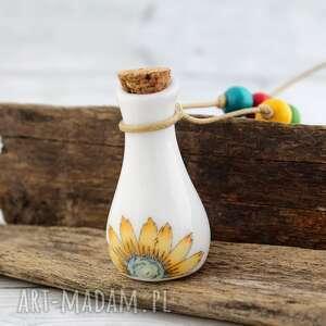 wisiorki ceramiczna buteleczka flakonik - wisior, boho, retro, kwiaty, ceramika