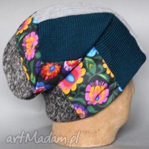 czapka handmade 11 - patchwork, prezent, folk, zima, rower, basen
