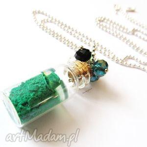 naszyjnik zielony proszek - naszyjnik, modelina, masa, fimo, słoiczek