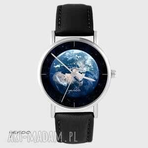 ręcznie robione zegarki zegarek yenoo - ziemia czarny, skórzany