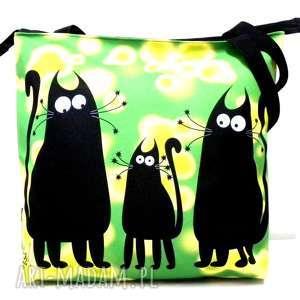 na ramię torba zamek z motywem kotów, xxl, kot, pojemna, torba
