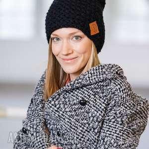 explorer elegancki czarny czapka, miła, nie gryząca, wełnana, akrylowa