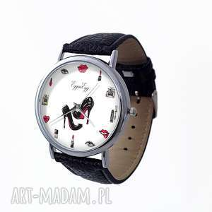 egginegg zegarek damski z czarnym paskiem - zegarek skórzany, kobiecy