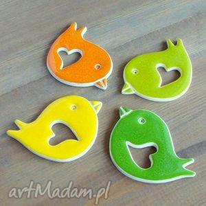 hand made ceramika kolorowe ptaszki na magnes