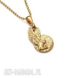 sowa płomykówka wisiorek na łańcuszku ze złoconego srebra, złocony