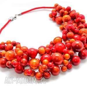 naszyjniki rude korale drewniane, czerwone korale, intensywny, wyrazisty