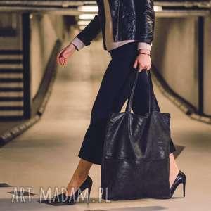 Grafitowa zamszowa torebka shopper do noszenia na ramieniu , czarn, torebka,