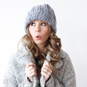 ręcznie zrobione czapki szara czapka handmade