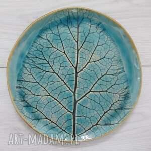 talerzyk z łopianiem, talerz ceramiczny, roślinny, organiczne wzory
