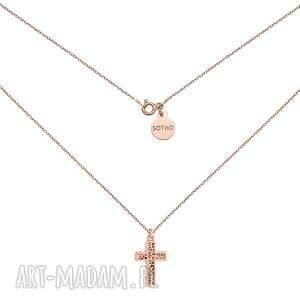 handmade naszyjniki naszyjnik z ażurowym krzyżem różowego złota