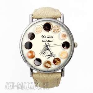 Coffee time! - Skórzany zegarek z dużą tarczą - ,coffee,kawa,time,napisem,zegarek,beżowy,