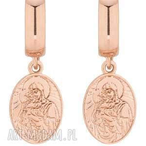 kolczyki z różowego złota z medalikami - wiszące, zapinane
