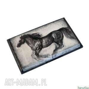 galop - wizytownik etui na karty kredytowe - czarne etui, jeździectwo