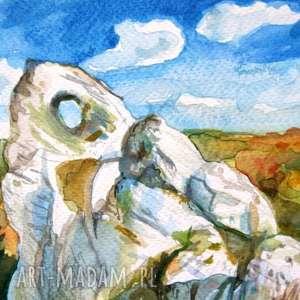 Jura-Okiennik Wielki , jura, skałki, akwarela, widok, obraz