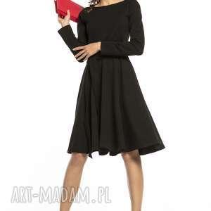 sukienki elegancka rozkloszowana sukienka z dzianiny, t287, czarny