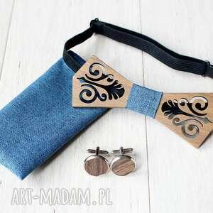 muchy i muszki zestaw drewniana muszka poszetka spinki folk denim
