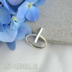 Prezent Geometryczny pierścionek, srebro, minimalistyczny, prezent