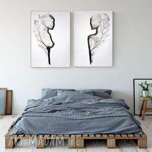 zestaw 2 grafik 70 x 100 cm, minimalizm, grafiki do salonu, obrazy