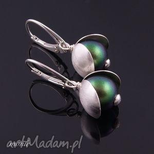 Skarabeusz, zielone kolczyki - ,zielone,kolczyki,swarovski,srebro,biżuteria,