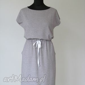 handmade sukienki 13 - sukienka z dzianiny dresowej wiązana w talii