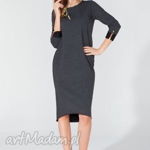 sukienka midi z ozdobną lamówką i troczkiem t106 kolor ciemnoszary - tessita