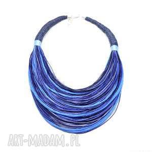 Lniane BOHO Błękitne, stopniowany naszyjnik, lniany, len, okazały, kolorowy, masajka