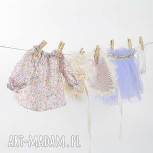 Tunika w łączkę tiulowa spódniczka, lalka, szmacianka, ręcznierobiona, przytulanka