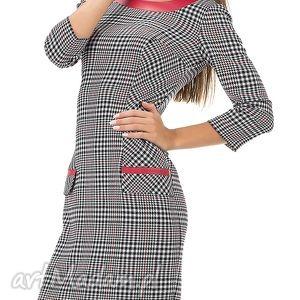 elegancka sukienka w kratkę z patkami rozmiar 46, elegancka, kratka, klasyczna